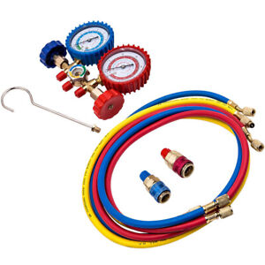 R134a R12 R22 Manifold Gauge Set HVAC AC Refrigeration Test 5ft Charging Hoses $24.50