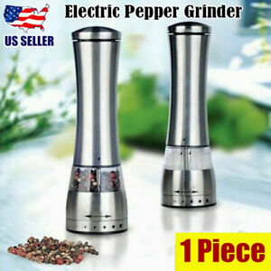 1pc Kitchen Electric Salt Pepper Spice Sauce Stainless Steel Mill Grinder Adjust