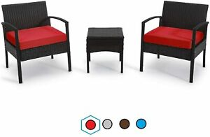 3 PCS PE Rattan Wicker Chair Set Outdoor Conversation Sets with Coffee Table