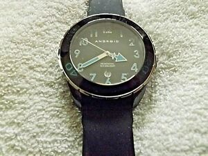 Android Ceramic AD 511 Blk Dial w Blue Acc, Blk Case, Blk Strap Watch NEEDS BATT