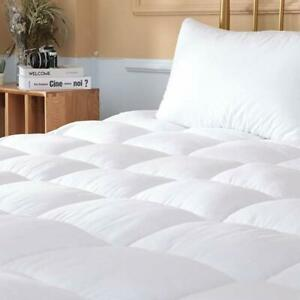 Mattress Pad Cover Topper Protector Quilted Fitted King Queen Full Twin Size Top