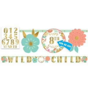 BOHO Girl Happy Birthday BANNER Party Wall Decoration PERSONALIZE AGE WILD CHILD