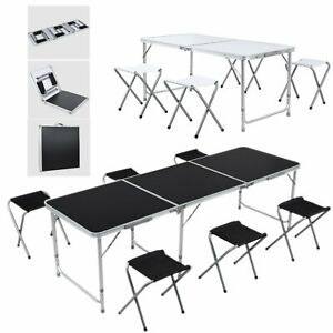 4/6FT Versatile Folding Camping Table Set Height Adjustable Picnic Party