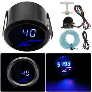 Car Universal 2 52mm Digital Blue LED PSI Turbo Boost Gauge Meter With Sensor