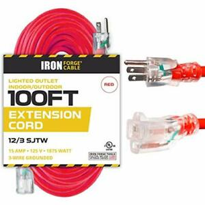 100 Ft Lighted Extension Cord 12 3 SJTW Heavy Duty Red Outdoor Extension Cable $52.24