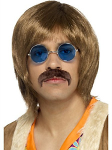 60s Hippie Singer Kit Brown with Wig Tash and Hippie Specs COST ACC NEW $12.46