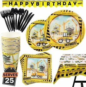 Construction Party Supplies Truck Birthday Decorations Boy Disposable Tableware