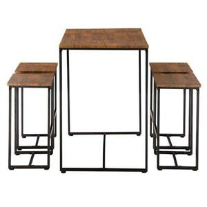 Hot 5 Piece Wood Dining Table Set 4 Chairs Kitchen Room Breakfast Furniture NEW