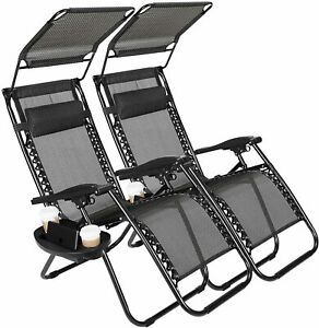 New Zero Gravity Chairs Case Of 2 Lounge Patio Outdoor Yard Beach Canopy 300 LBS