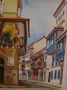 WATERCOLOR PAINTING ORIGINAL OF THE OLD CITY OF CARTAGENA COLOMBIA $55.00