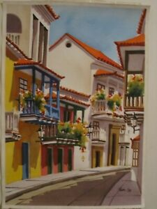 Watercolor paintingoriginal of the old city of Cartagena Colombia beautiful $55.00
