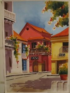 Watercolor paintingoriginal of the old city of Cartagena Colombiabeautiful $55.00