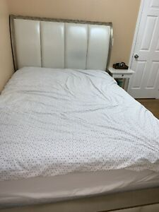 full size wooden leather bed frame