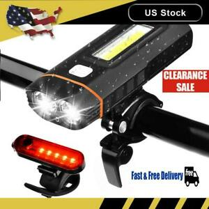 Motorcycle Bike Headlights USB Charging COB Work Light Taillight Warning Lamp