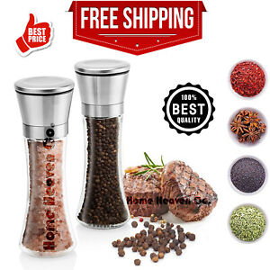 Premium Stainless Steel Salt and Pepper Grinder Set of 2 Shaker Mill Vintage NEW