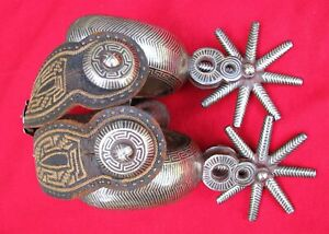 BIG ORNATE 45 POUND 1870s SOMBRERO DOUBLE SILVER MOUNTED FOLK ART AMOZOC SPURS