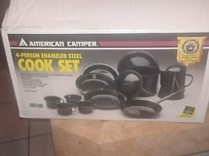 AMERICAN CAMPER 4 PERSON ENAMELED STEEL COOK SET-NEW (OPEN BOX)