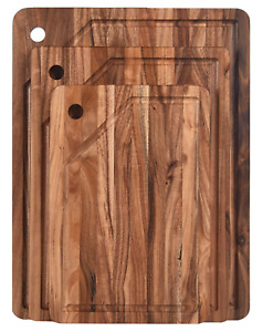 KARRYOUNG Acacia Wood Cutting Board (Set of 3) with Juice Grooves - Wooden Chopp