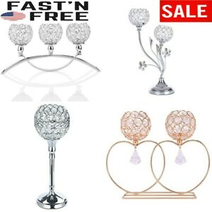 Crystal Candle Holders Candlestick/Hallow Vase Home Table Centerpiece Decoration
