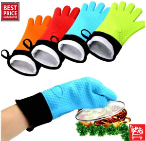 Silicone Oven Mitts Professional Heat Resistant Heavy Duty Kitchen Long Gloves