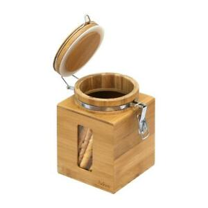 Small Airtight Canister Dry Food Storage Organizer Jar, Natural Bamboo Finish