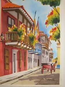 Watercolor painting original of the old city of Cartagena Colombiabeautiful $55.00