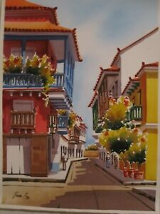 Watercolor painting original of the old city of Cartagena Colombia beautiful $55.00