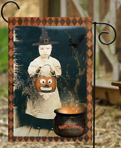 Vintage Halloween Girl  Garden Flag* Top quality *Double Sided *By Flags Galore