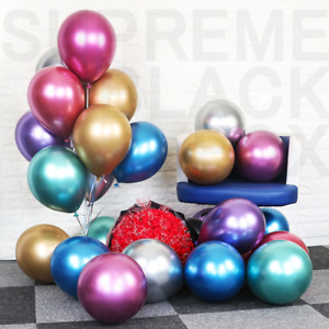 Metallic Balloons Metal Chrome Shiny Latex Happy Birthday Wedding Party Games