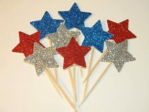 24 Red, Silver and Blue Glitter Star 4th of July cupcake toppers food picks