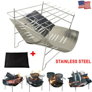 BBQ Grill Portable Foldable Stainless Steel Carry Bag Charcoal Camping Outdoor