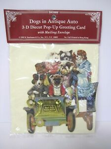 Dogs in Anique Auto 3 D Diecut Pop Up Greeting Card with Envelope