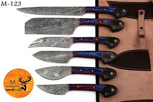 CUSTOM HAND FORGED DAMASCUS STEEL CHEF KITCHEN KNIFE SET WITH WOOD HANDLE- M 123