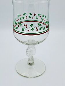 Vintage Christmas Wine Glasses Water Goblets Stemware 6.5#x27;#x27; T 2.75#x27;#x27; Top