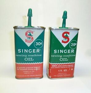 LOT OF 2 DIFFERENT VTG SINGER SEWING MACHINE OIL CANS TIN HANDY OILER $12.95