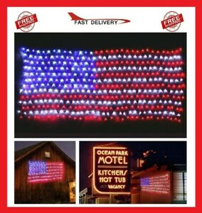American USA Flag Lights 420 Super Bright LED Net Light Waterproof Decorations