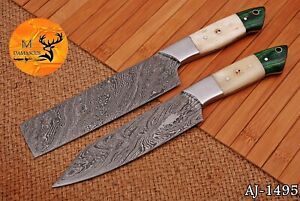 HAND FORGED DAMASCUS STEEL CHEF KITCHEN KNIVES SET WITH BONE HANDLE - AJ 1495