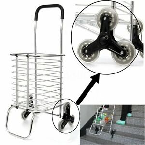 Folding Shopping Cart Jumbo Basket Grocery Laundry Travel With 6 Stair