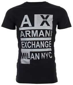 Armani Exchange Mens S S T Shirt STACKED Designer BLACK Casual S 2XL $45