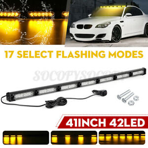 41 42 LED Amber Traffic Advisor Emergency Warning Strobe Light Bar Tow Truck US