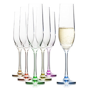 Decorated Rainbow Crystal Glass Colorful Champagne Flutes Glasses Set of 6-6.4