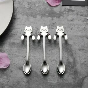 10pc Cute Cat Spoon Long Handle Spoons Flatware Drinking Tools Kitchen Gadgets