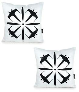 Star Wars White Throw Pillow | Black X-Wing Design | 18 x 18 Inches | Set of 2