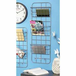 Modern Silver Iron 3-Tier Basket Wall Rack with 3 Hooks Grey