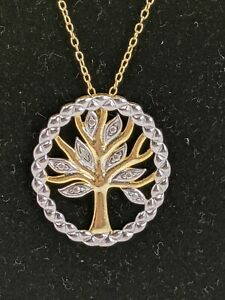 FAS Sterling Silver Gold Plated Family Tree Necklace $13.00