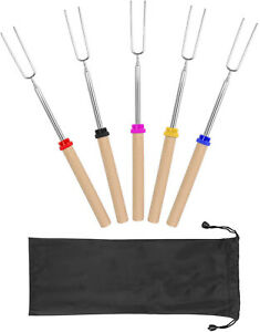 Set of 5Pcs Telescoping Smores Skewers for Campfire Firepit ,Sausage BBQ, 32 in