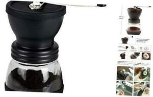 XIBLISS Manual Coffee Mill Grinder with Ceramic Burrs, with Stainless Steel Hand