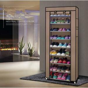 10 Tier 9 Lattices Shoes Tower Rack Organizer Storage Space Saving