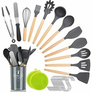 Kitchen Utensil Set,30 Pcs Silicone Cooking Utensils With Natural Wooden Gadgets
