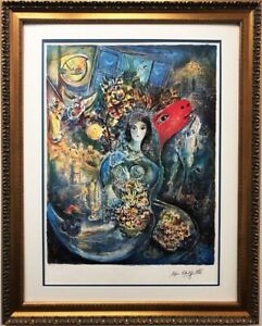 Marc Chagall quot;Bellaquot; Custom Framed Art Limited Edition Offset Lithograph $299.99